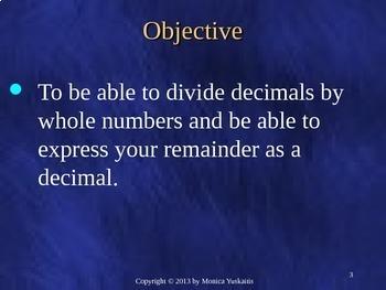 Common Core 5th - Decimals 10 - Dividing Decimals with Remainder