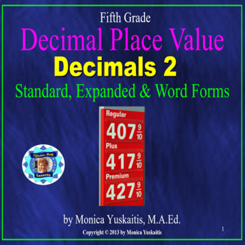 Common Core 5th - Decimals 2 - Standard, Expanded & Word F