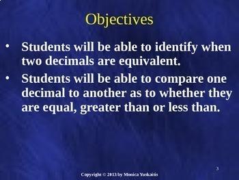 Common Core 5th - Decimals 3 - Equivalent and Comparing Decimals
