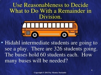 Common Core 5th - Division 6 - What to Do with the Remainders