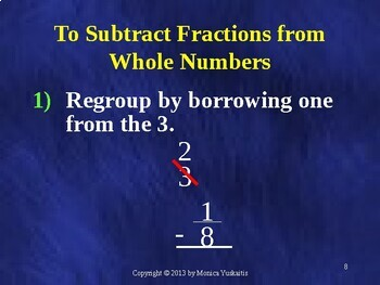 Common Core 5th - Fractions 11 - Subtracting from Whole Numbers