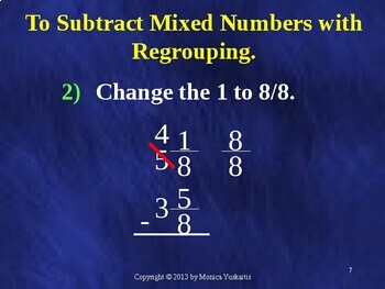 Common Core 5th - Fractions 12 - Subtraction of Mixed Numbers w Regrouping