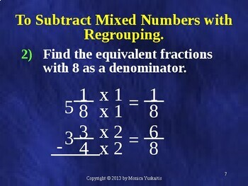 5th - Fractions 13 - Subtract Mixed Numbers w Unlike Denominators & Regrouping