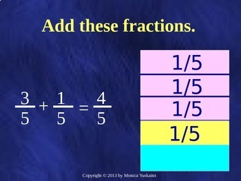 Common Core 5th - Fractions 4 - Addition & Subtraction of Like Denominators