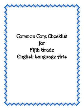 Common Core: 5th Grade ELA Checklist