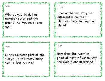 Common Core 5th Grade ELA Question Cards