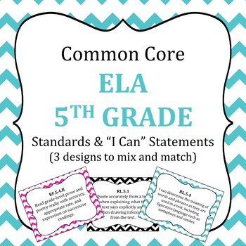 Common Core 5th Grade ELA standards posters and I Can Statements