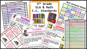"Common Core 5th Grade ""I can…"" Statements for ELA & Math (1/4 page) + Bonuses!"