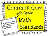 5th Grade Common Core Math Standards Posters