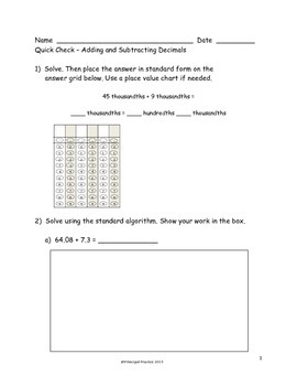 5th Grade Operations with Decimals