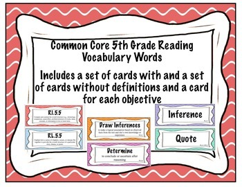 Common Core 5th Grade Reading Vocabulary Words