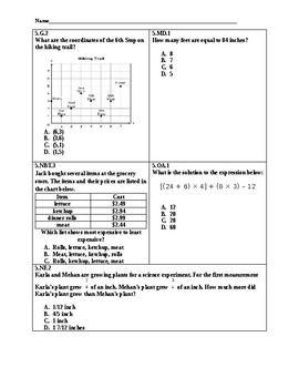 Common Core 5th Grade Spiral Math Review