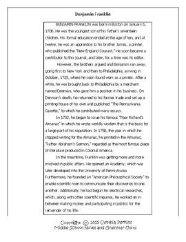 Common Core 6-8 Reading Strategies Activity- Benjamin Franklin