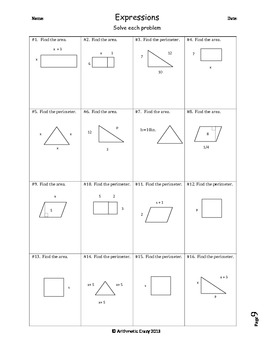 Expressions, Equations, Inequalities, and Exponents Homework / Review