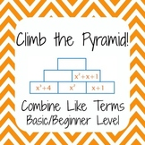 Common Core 6EE3 - Combine Like Terms - Climb the Pyramid - Basic Difficulty