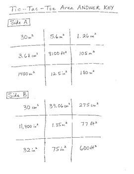 Common Core 6.G.A.1 Area tic- tac-toe