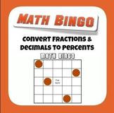 Common Core 6.NS.C.6.C Convert Fractions and Decimals to Percents Bingo