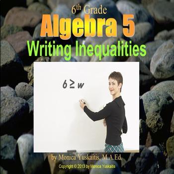 Common Core 6th - Algebra 5 - Writing Inequalities
