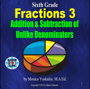 Common Core 6th - Fractions 3 - Addition & Subtraction of Unlike Denominators