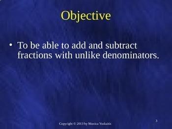 Common Core 6th - Fractions 3 - Addition & Subtraction of Unlike Denominators