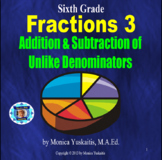6th Grade Fractions 3 - Addition & Subtraction of Unlike Denominators Lesson