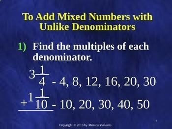 Common Core 6th - Fractions 4 - Addition & Subtraction of Mixed Numbers