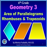 6th Grade Geometry 3 - Areas of Parallelograms, Rhombuses & Trapezoids Lesson
