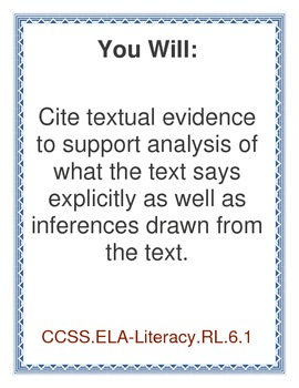 Common Core 6th Grade ELA Standard Signs