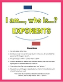 Common Core 6th Grade Exponents -- I am..., Who is...? Game