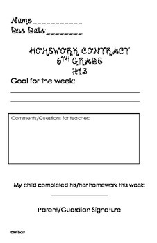 Common Core 6th Grade Homework Packet #13