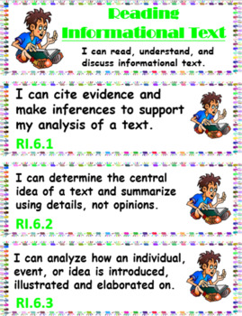 "Common Core 6th Grade ""I can…"" Statements for ELA & Math (1/4 page) + Bonuses!"