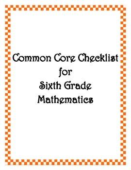 Common Core: 6th Grade Math Checklist