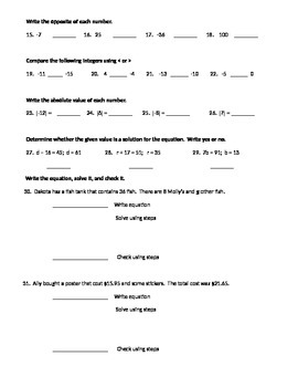Common Core 6th Grade Math Equation and Inequality Study Guide