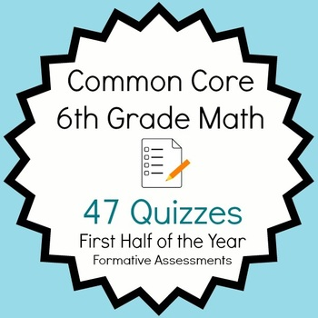 Common Core - 6th Grade Math Quiz Pack - 47 Quizzes First