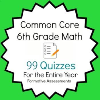 Common Core - 6th Grade Math Quiz Pack - 97 Quizzes Entire Year Bundle
