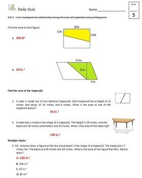 Common Core - 6th Grade Math Quiz Pack - Area