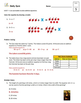 Common Core - 6th Grade Math Quiz Pack - Equations and Inequalities