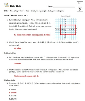Common Core - 6th Grade Math Quiz Pack - Rational Numbers (Integers)