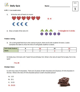 Common Core - 6th Grade Math Quiz Pack - Ratios and Rates