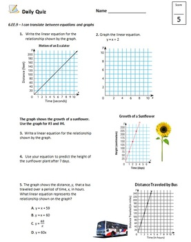 Common Core - 6th Grade Math Quiz Pack - Relationships between Variables