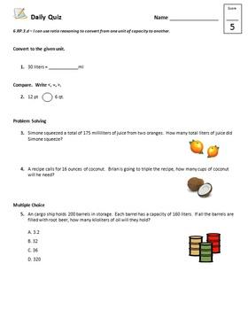 Common Core - 6th Grade Math Quiz Pack - Units of Measure