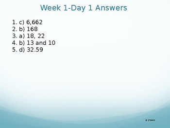 Common Core 6th Grade Daily Math Review