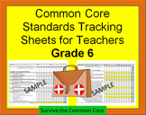 Tracking Sheets (EDITABLE) Common Core 6th Grade Math by Domain/Cluster/Standard