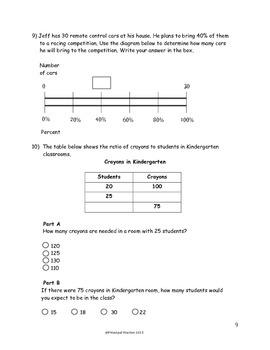 6th Grade Unit Rates, Ratio, Percents Assessment