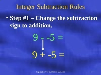6th Grade Integers 3 - Subtracting Integers Powerpoint Lesson
