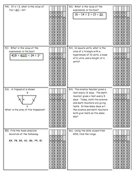 Common Core 6th grade - End of Year Review - Gridded Practice Packet