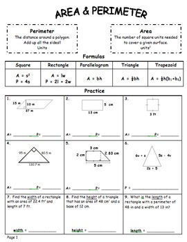 Common Core – 6th grade – Geometry Review Booklet