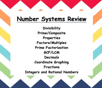 Common Core - 6th grade - Number Systems Review Booklet