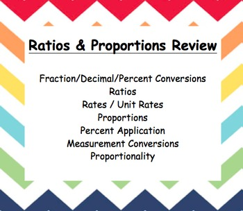 Common Core – 6th grade – Ratio & Proportions Review Booklet