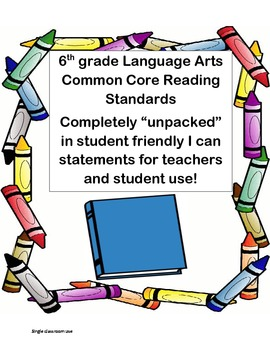 "Common Core 6th grade Reading Standards(""unpacked"", I can, and student friendly)"